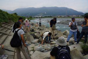 河原で石を分類する会員たちの様子