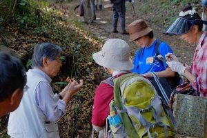 神奈川キノコの会のスタッフの解説を聞く参加者